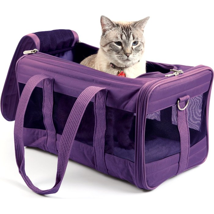 The Smarty Cat Carryin' Cove Cat Carrier offers 3-in-1 convenience functioning as a private cat carrier, a cat den and a scratcher. Made out of cardboard, the lightweight carrier makes it easy to carry your kitty securely.