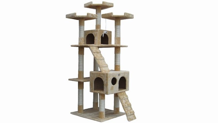 An elaborate, multi-story cat tower against a white background.
