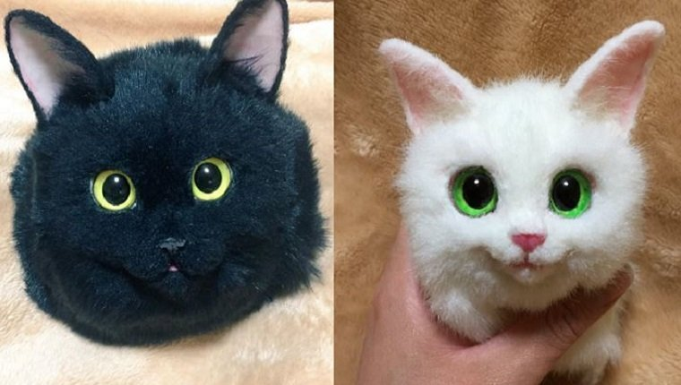 On the right there is a bag that looks like a black cat with yellow eyes. On the left is a bag that looks like a white cat with green eyes.