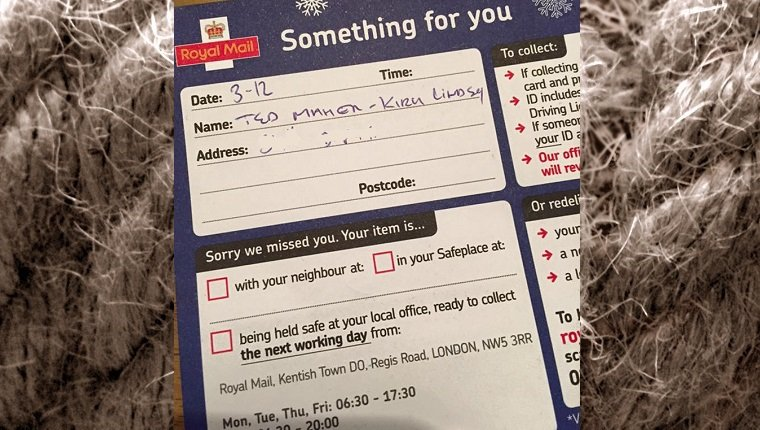 A post office slip from the British post office. The package is addressed specifically to Ted the cat.