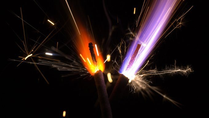 orange and purple sparklers