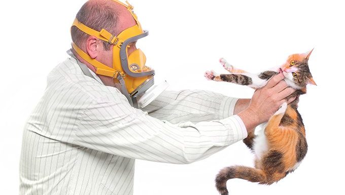 man with gas mask holding cat