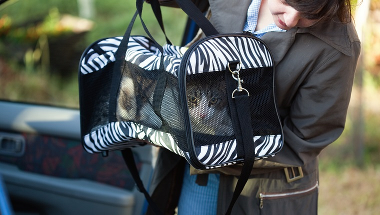 Woman with pet carrier