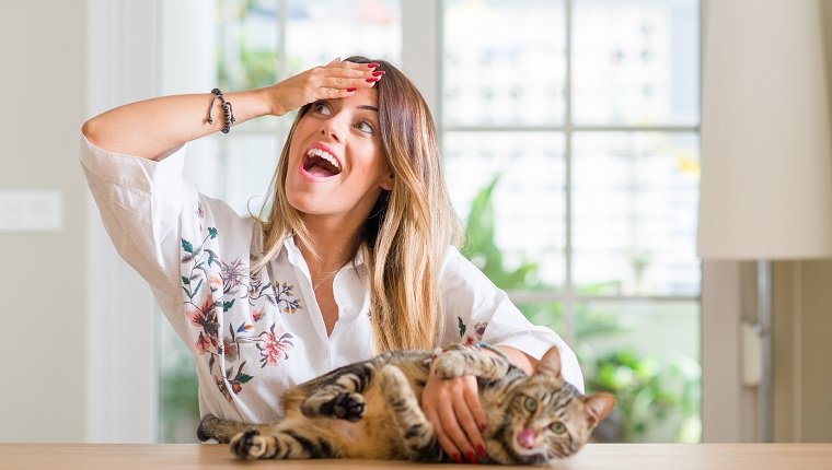 Young woman at home playing on Ask A Stupid Question Day with her cat, stressed with hand on head, shocked with shame and surprise face, angry and frustrated. Fear and upset for mistake.