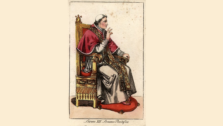 Pope Leo XII (1760 - 1829), sitting in full ceremonial attire on the throne.