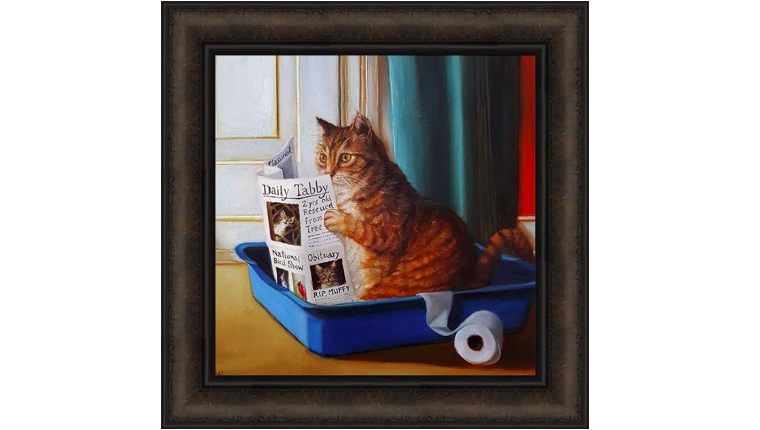 Print of cat reading newspaper in litter box