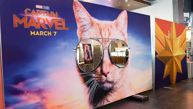 TORONTO, ONTARIO - MARCH 06: A general view of atmosphere at the 'Captain Marvel' Canadian Premiere held at Scotiabank Theatre on March 06, 2019 in Toronto, Canada.