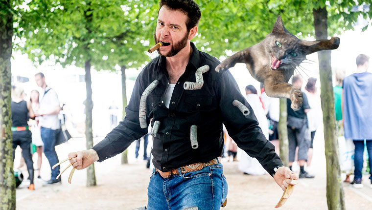 wolverine from x-men with cat