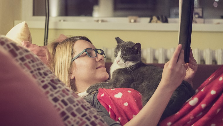 Beautiful young blonde woman is trying to read a book while her persistent cat is trying to sleep on her chest.